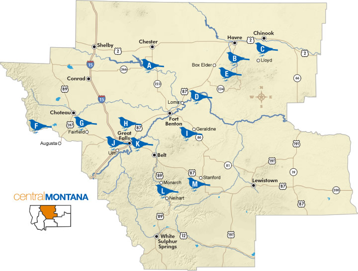 Birding Trail Map Central Montana