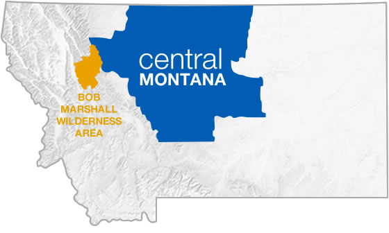 Bob Marshall Wilderness in relation to Central Montana