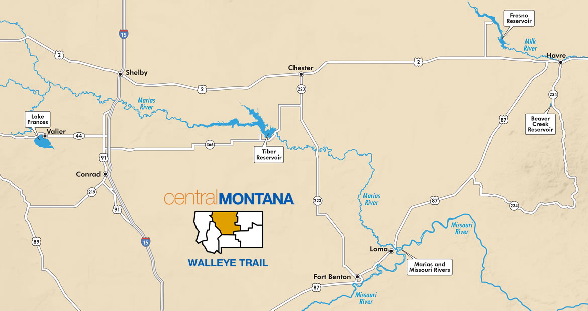 Central Montana's Walleye Trail Map