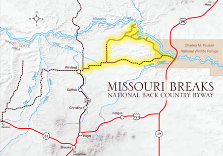 Missouri Breaks Back Country Byway Map