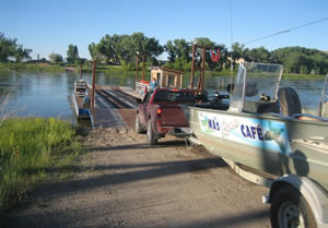 Boarding the Virgelle Ferry in Central Montana